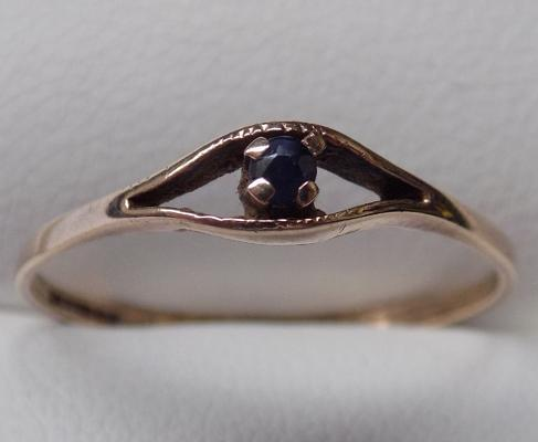 Vintage 9ct gold sapphire and diamond ring - approx. size M1/2