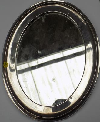 "Silver framed mirror, 6.5"" by 8.5"", some damage, Birmingham circa 1940's"