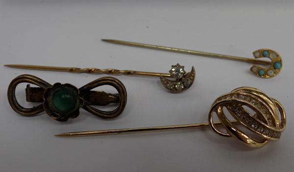 Small selection of hat pins - yellow metal