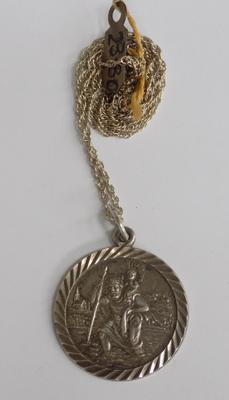Large silver St Christopher on silver chain