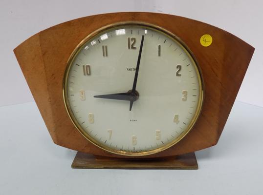 Smiths eight day wooden mantle clock