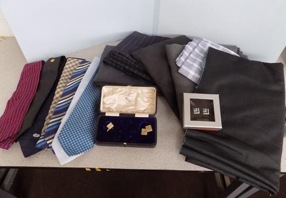 Box of cut lengths of material, collectable ties & cufflinks