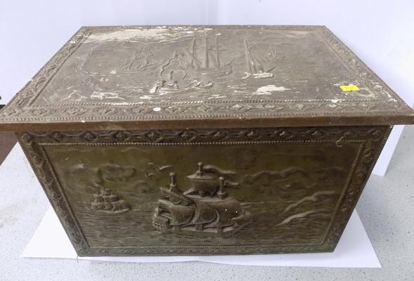 Vintage coal bin with ship designs