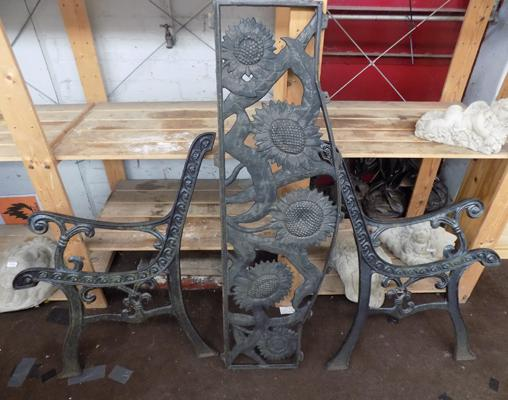 Cast iron bench ends & back