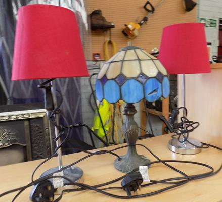 Three bedside lamps - incl. Tiffany style lamp
