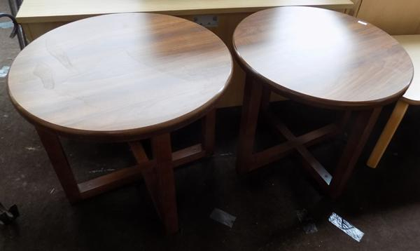 Pair of round coffee/end tables