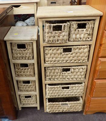 2x Wicker drawer units