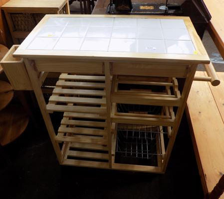 Tile top kitchen trolley