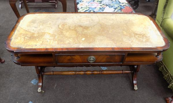 Leather top occasional table