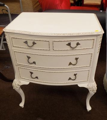 Cream bow front chest of drawers
