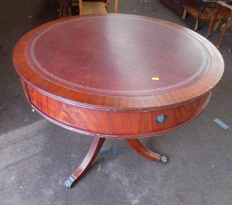 Circular wooden table with 4 drawers