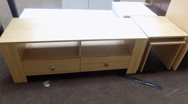 Oak effect entertainment unit and matching nest of tables