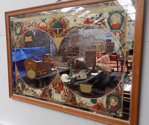 Large vintage (70's) world map mirror (wall hanging)