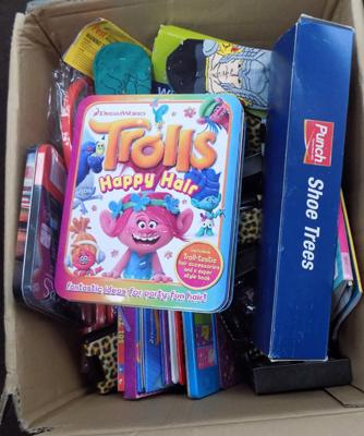 Large box of new items incl. Troll toys /books