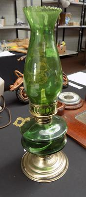 Green glass oil lantern