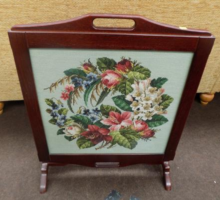 Embroided fire screen