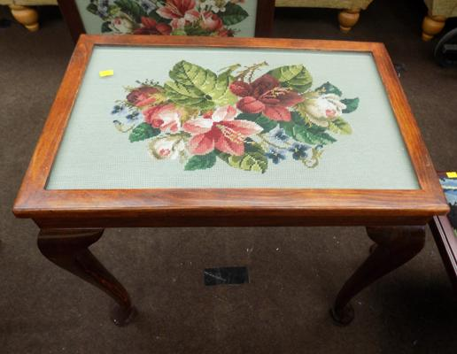 Embroided glass top table