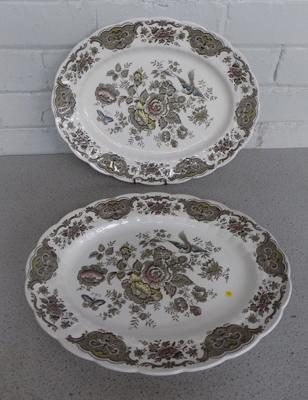 Two large Staffordshire Ridgeway meat platters - 'Windsor'