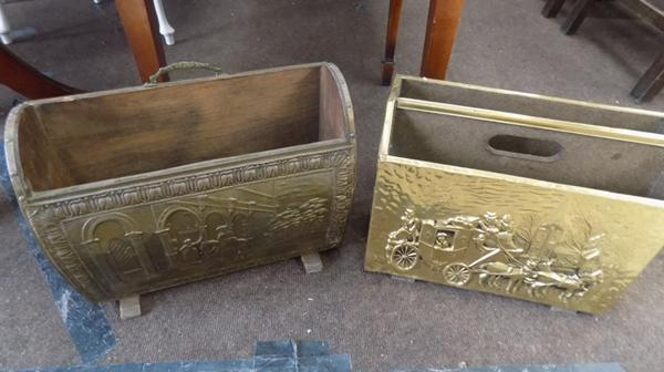 Brass magazine racks x 2