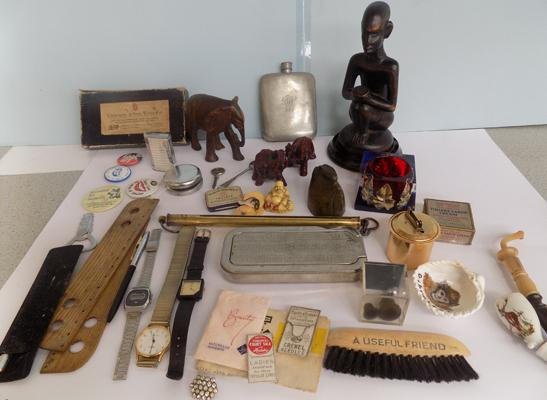 Tray of vintage collectables, oriental figures, brass hip flasks, watches, lighters etc...