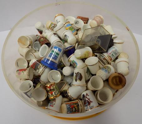 Tub of collectable thimbles
