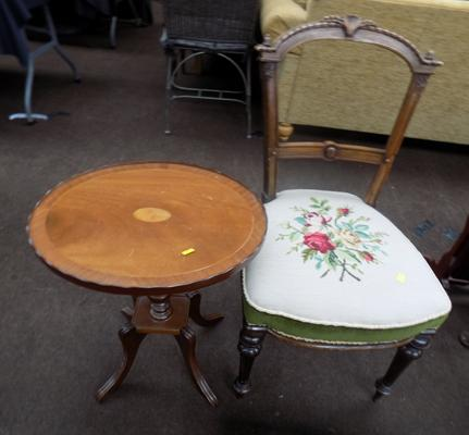 Embroidered chair & occasional table