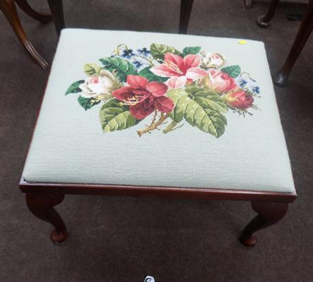 Embroided foot stool