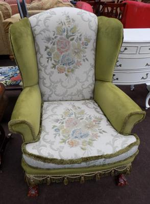 Fire side chair green floral
