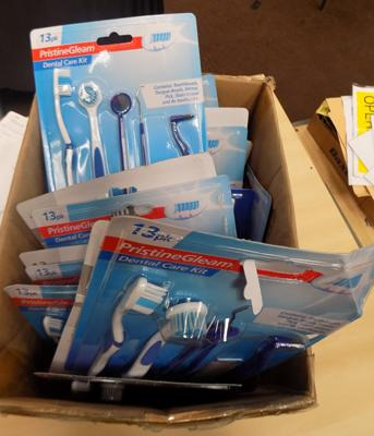 Box of dental care kits