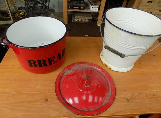 Enamel bread bin and bucket
