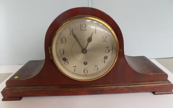 "1920's, 3 wind, Napoleon hat, Westminster chimes, mantle clock, 20"" to base, with key"