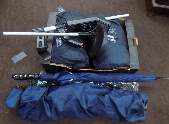 Box of camping equipment, incl. metal detector
