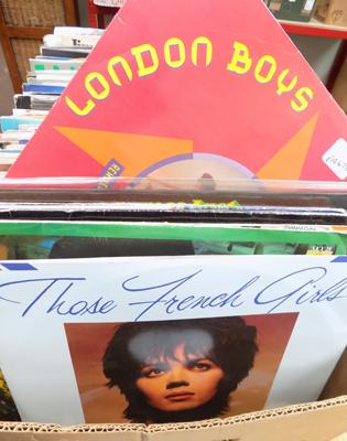 "Large box of records, LPs, & 12 "" singles"