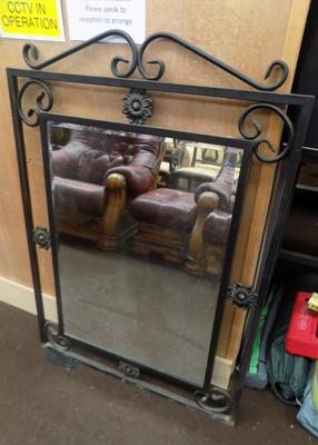 "Large wrought iron mirror, approx. 44"" tall"