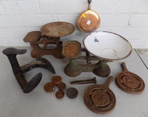 Selection of vintage items incl. scales and weights etc.