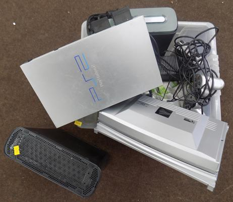 Box of consoles incl. Xbox 360's and PS2's