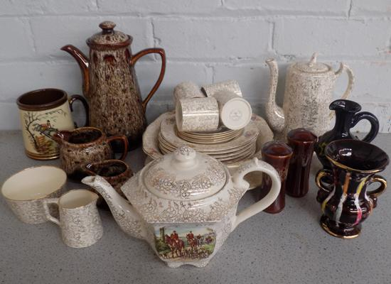 Mixed box of pottery and china incl. Fosters, Gibsons etc.