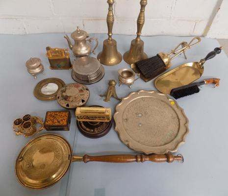 Box of mixed metalware, incl. two brass bells