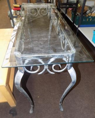 Wrought iron table, glass topped
