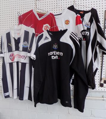 Five football shirts inc 2 x old Manchester Utd.  + 3 x Newcastle Utd. - AIG, N Rock