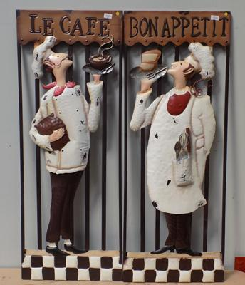 "Two metal signs - 'Bon Appetite' & 'Le cafe', 30"" x 11 1/2"""