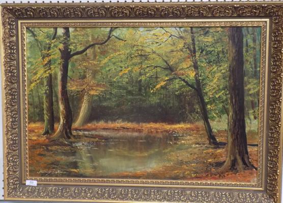 "Large original oil on canvas - woodland scene - signed by Stanley Dollingson (local artist) - 35"" x 26"""