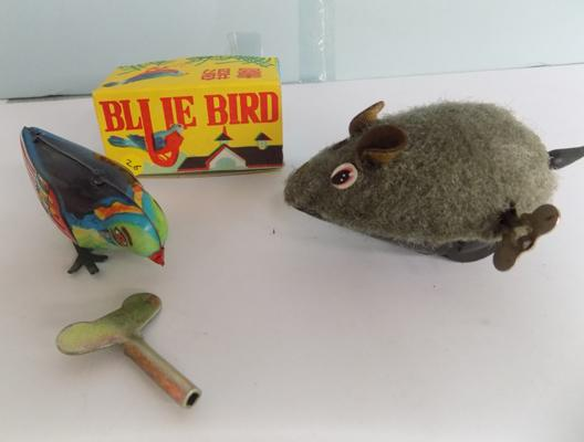 "Vintage clockwork tin plate ""Percine Blue Bird' with key, circa 1950's + clockwork running mouse with key"