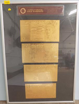 24 Carat gold plated bank notes in frame