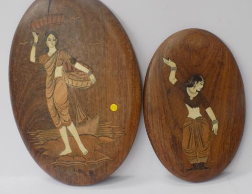 Two inlaid Indian plaques