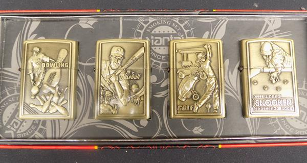 Four oil lighters with sports design