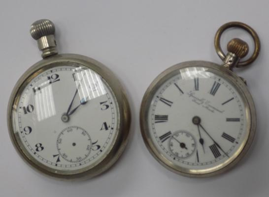 Two pocket watches - one silver