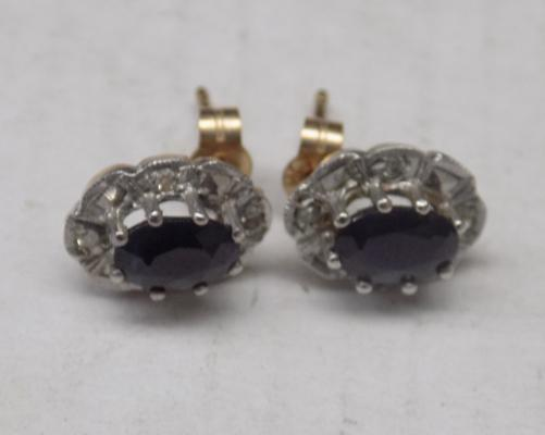 Pair of sapphire & diamond earrings, 375 & others