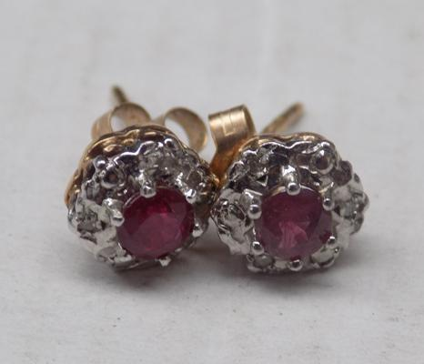 Pair of 9ct gold ruby & diamond earrings, hallmarked 375 & others
