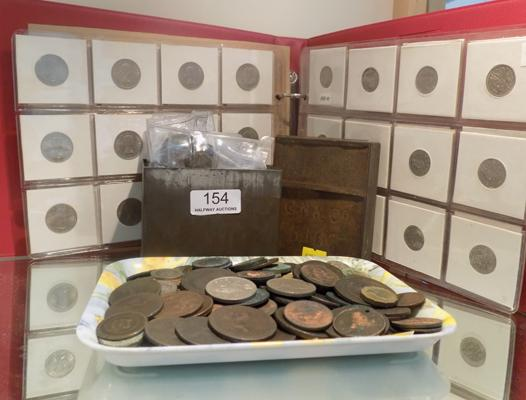 Tin & album of antique coins incl. silver